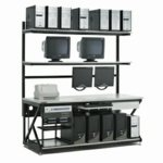 Lan Bench, 72 W x 30 D x 74 H with 2 shelves and undershelf