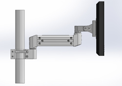 Pole mounted LCD monitor arm. Shown with 10 inch extension arm