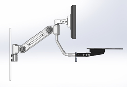 Track mounted LCD monitor arm with keyboard option shown