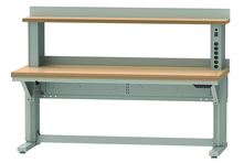 Lista Align Height Adjustable work bench with shelf and powered shelf riser
